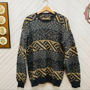 Vintage 90s Thick Knit Funky Patterned Sweater